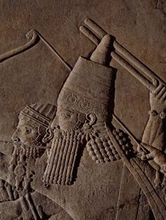 allmesopotamia:  King Ashurbanipal in a detail of a Neo-Assyrian relief depicting a lion hunt (British Museum).