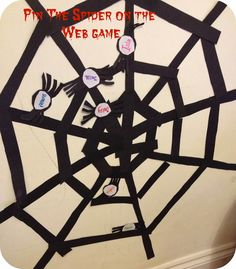 Pin the Spider on the Web Halloween Game. Can't go wrong with this game, everyone is a winner  - personalize the spiders with your guests names.