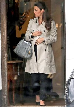 Kate Middleton Baby Bump Pictures: Pregnant Duchess Wears Trench Coat - UsMagazine.com
