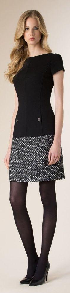 Luisa Spagnoli : inspiração para acrescentar comprimento a um vestido tubo, com um tecido de inverno e usar na próxima estação.: