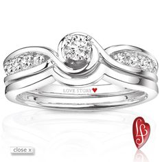 Love Story® diamond bridal set with 1/8 carat round brilliant center stone and matching diamond band from the Only You Collection®, 1/3 carat total weight, 14K white gold comfort fit mounting.