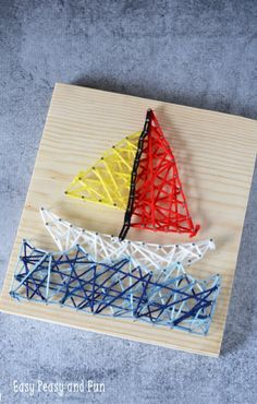 Sailboat String Art for Kids - Easy Peasy and Fun Sailboat String Art for Kids - Easy Peasy and Fun Summer Crafts For Kids, Fun Crafts For Kids, Craft Activities For Kids, Toddler Crafts, Projects For Kids, Diy For Kids, Art Projects, Arts And Crafts, Children Crafts