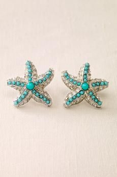 Turquoise star fish earrings