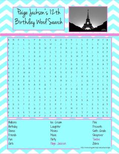 Paris Theme Birthday Party (Girl) Personalized Word Search