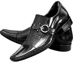 Sapato Social Masculino Couro Legitimo Verniz Brilhoso Dhl - R$ 169,89