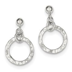 Sterling Silver Rhodium Plated Dangling Circle Earring