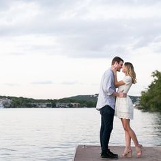 We're loving our newest #bloggerbride @livvylandblog's #lakeside #engagementsession! Plus how #sweet and #summery is her #white #eyelet #dress with #wedges! | Photography: @adandypear by smpweddings