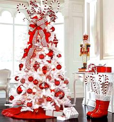 White Christmas tree red ornaments ToniKami Ðℯck Ʈհe HÅĿĿs candy cane theme Santa boots