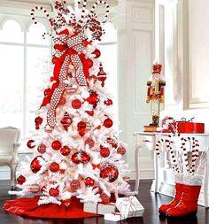 White Christmas tree red ornaments ToniKami Ðℯck Ʈհe HÅĿĿs candy cane theme Santa boots