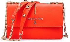 Leder Umhängetasche von Patrizia Pepe in orange für Damen. Gr. 1