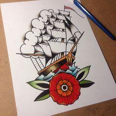 #flash #tattooflash #tattooart #tattoo #tattoos #art #tradition #traditional #color #ship #sale #sea #flower #mandala #oldschool