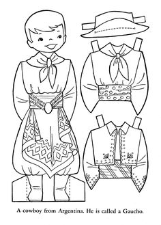 WAGGS - World Thinking Day Sparks or Brownies craft - Children of the World Paper Doll - Cut-Out Sheets Colouring Pages, Coloring Books, Coloring Sheets, Paper Toys, Paper Crafts, Little Passports, World Thinking Day, My Father's World, Argentine