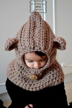 "Crochet Tutorials – ❤ Crochet PATTERN - Bear Hooded Cowl ""Luxu... – a unique product by DIWL-DO-IT-WITH-LOVE on DaWanda"