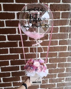 Cutie preserved flowers box with hot air balloon for grand opening 🌸 Balloon Gift, Balloon Garland, Air Balloon, Balloon Centerpieces, Balloon Decorations, Birthday Party Decorations, Balloon Flowers, Balloon Bouquet, 18th Party Ideas
