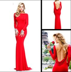 2014 Cheap Sexy New Red Long Sleeves Jersey Mermaid Prom Dresses Backless Beaded Evening Gowns Floor Length TE 92271 $115.90
