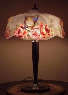 NICE Pairpoint Puffy Butterfly & Floral Scene Reverse Painted Table Lamp in Collectibles, Lamps, Lighting, Lamps: Electric, Table Lamps | eBay