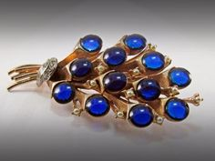 Vtg HAR Floral Bouquet Brooch Pin Goldtone Cobalt Blue Glass Cabs Seed Pearls…