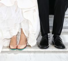Sparkle on your big day with Rose Gold Glam Tieks! These chic flats complement any wedding day look | Tieks Ballet Flats