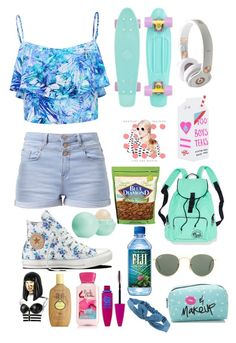 """Summer<3"" by ariannakaren ❤ liked on Polyvore featuring Converse, Forever New, Beats by Dr. Dre, Ray-Ban, Valfré, Eos, Forever 21, Maybelline, Nicki Minaj and Sun Bum"