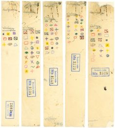 """""""walter benjamin's coloured symbols used for cross-referencing in the paris arcades project & the 'baudelaire studies,' 1928-1940."""""""