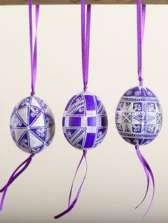 Purple Pysanka Chicken Egg Ornament with ribbon | IFAM | Online
