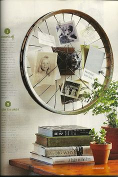 Re-purpose an old wheel frame.  For the bike lovers you know.  it would also make a cute clock.