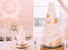 We've got all the heart eyes for Jessica + Andre's gorgeous white and gold wedding cake! The gold foil put a twist on an otherwise classic cake . Gold Foil Cake, Gold Cake, Wedding Desserts, Wedding Cakes, White And Gold Wedding Cake, Jessica Williams, Reception Food, Classic Cake, Floral Cake