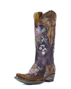 These cowboy boots are so rich and colorful, yet edgy and soulful. The detail is reminiscent of flowers you'd find in the Wild West and the styling brings back the Urban Cowboy feel of the early 80s. Sissy would look so sexy in these. Ready to dance? | Country Outfitter http://www.countryoutfitter.com/products/26841-womens-bonnie-boot-vesuvio-brass #cowgirlboots