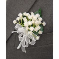 Grooms White Gypsophila Babies Breath Wedding Day Buttonhole