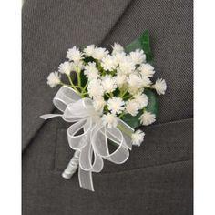 Grooms White Gypsophila Babies Breath Wedding Day Buttonhole