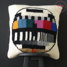 #TV test card patterned hand knitted #pillow by bibu atelier