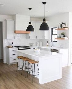 24 Beautiful White Kitchen Design Ideas And Decor. If you are looking for White Kitchen Design Ideas And Decor, You come to the right place. Below are the White Kitchen Design Ideas And Decor. This p. Modern Kitchen Interiors, Modern Farmhouse Kitchens, Modern Kitchen Design, Home Decor Kitchen, Interior Design Kitchen, New Kitchen, Home Kitchens, Kitchen Lamps, Kitchen Ideas