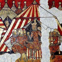 Campamento aragones a Mallorca. Pinturas goticas del MNAC procedesntes del Palau Caldes 1280