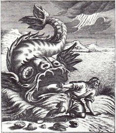 """Jonah and the Whale was drawn by Marten-Jacobsz van Veen, engraved by Philip Galle, 1566 CE, Heemskerk, Holland. Herman Melville complained in Moby Dick about Biblical representations of """"Jonah's whale, as depicted in the prints of old Bibles and the cuts of old primers. What  shall be said of these?"""""""