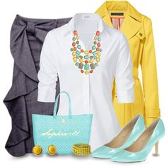 Aqua and Yellow with Chinese Laundry by sophie-01 on Polyvore