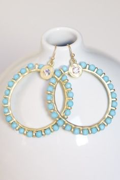 Blue and gold bead hoops.