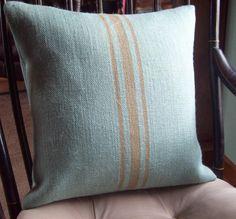 Blue Burlap Pillow Cover with Hand Painted Grain Sack Stripes 16 x 16 - Decorative Pillow Cover - Beach Home Decor