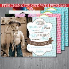 rainbow chevron Birthday Invitation, first birthday poem invitation, the big one birthday, party invitation printable, FREE thank you card on Etsy, $15.00