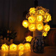 Find More LED String Information about Battery Operated String Lights 2M 20 LED Rose Flower Fairy Lights String for Wedding Holiday Party Garden Christmas Decorations,High Quality light carbon,China string lights outside Suppliers, Cheap string thread from Topled Starmerx on Aliexpress.com