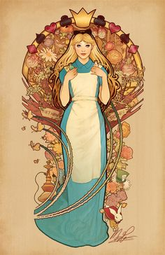 Curious and Curiouser Part of my Mucha-inspired princess (and non-princess, now!) series! You can grab prints and shirts and things on Society6 and Redbubble! :) by Megan Lara