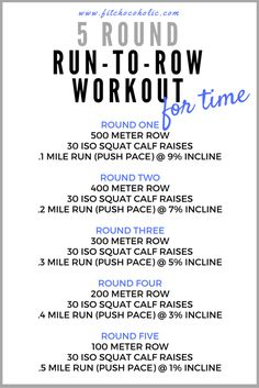 Run, Row and Blast Calories! This 5 Round Run To Row Workout inspired by Orangetheory Fitness incorporates incline running and fast paced rowing. Rower Workout, Treadmill Workouts, At Home Workouts, Circuit Workouts, Tabata Workouts, Workout Diet, Fast Workouts, Dumbbell Workout, Workout Plans
