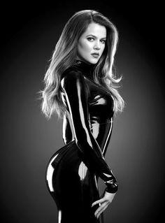ML Khloe Kardashian wearing a sexy latex catsuit.