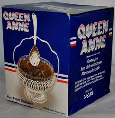 QUEEN ANNE Silver Plated Tableware, Jam Dish with Spoon, New In Box
