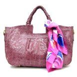 Dark Pink Croc Skin Faux Leather Satchel Handbag w/ Pretty Scarf Accent ~ $39.98