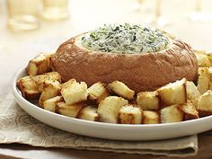 King's Hawaiian Bread Bowl with Spinach Dip! Bring the party to any gathering with this simple appetizer for all to share.