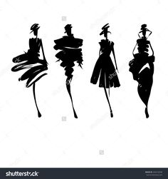 Fashion Design Drawing Fashion models hand drawn silhouettes Stock Vector - 38973881 - - Millions of Creative Stock Photos, Vectors, Videos and Music Files For Your Inspiration and Projects. Fashion Illustration Sketches, Fashion Sketchbook, Illustration Art, Illustrations, Silhouette Mode, Fashion Silhouette, Fashion Model Sketch, Fashion Design Sketches, Drawing Fashion