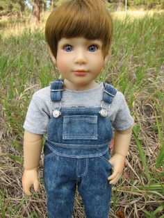 Overalls sewing pattern for American Girls, Kidz n Cats, Sasha, Magic Attic American Girl Outfits, American Boy Doll, American Doll Clothes, Sewing Doll Clothes, Sewing Dolls, Girl Doll Clothes, Doll Clothes Patterns, Girl Dolls, Doll Patterns