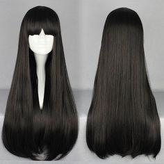 Aliexpress.com: Comprar Natural barato mujeres larga recta Lolita Zipper Manga Cosplay negro pelo sintético pelucas 70 cm de pelucas de pelo de color fiable proveedores en Cosplay Sky