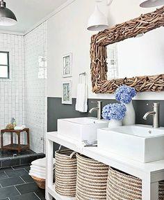 Driftwood Bathroom Mirror... http://www.completely-coastal.com/2016/09/decorative-bathroom-mirrors-coastal.html Making a Coastal Mirror the Focal Point of your Bathroom!