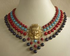 Egyptian Style Tutankhamen Choker in Red, Lapis Blue and Turquoise Glass on Etsy, $55.00